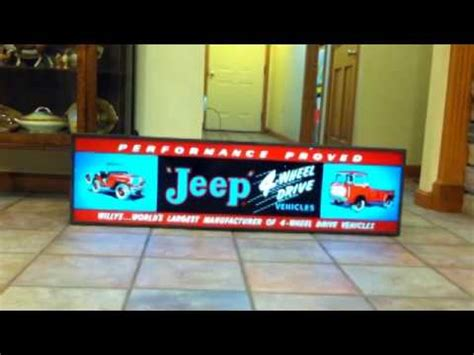 JEEP WILLYS ANTIQUE NEON SIGN FOR SALE - YouTube